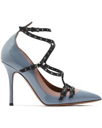 Valentino Love Latch Eyelet-embellished Smooth And Patent-leather Court Shoes Light Grey - Gray