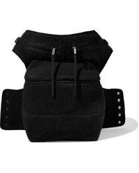 Rick Owens Cargo Chap Felt-trimmed Brushed-woven Belt Bag Black
