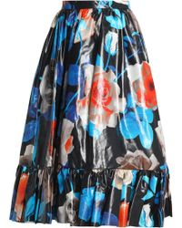 MSGM - Coated Floral-print Cotton Midi Skirt - Lyst