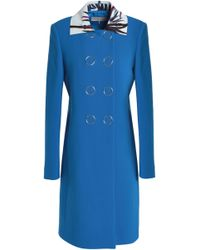 Emilio Pucci - Woman Double-breasted Printed Leather-trimmed Wool-blend Coat Light Blue - Lyst