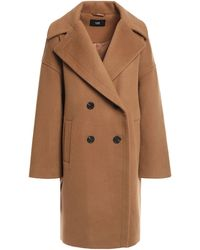 Line Double-breasted Brushed Wool Coat Camel - Natural