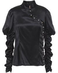Shrimps Edessa Button-detailed Ruched Silk-satin Top Black