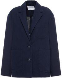 American Vintage Renatown Blazer Aus Flanell Aus Einer Baumwollmischung - Blau