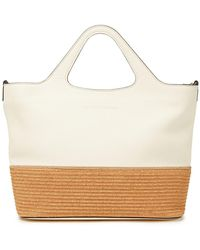 Brunello Cucinelli Bead-embellished Pebbled-leather And Faux Raffia Tote - White