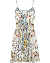 Camilla The Butterfly Effect Embellished Silk Crepe De Chine Mini Dress Ivory - White