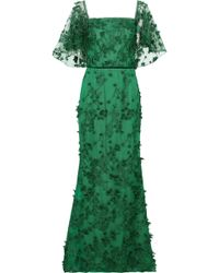 Marchesa notte Off-the-shoulder Floral-appliquéd Embroidered Tulle Gown Emerald - Green