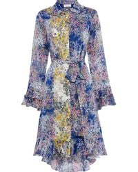 Mikael Aghal Belted Panelled Floral-print Georgette Dress - Blue