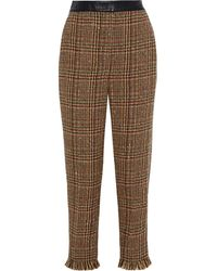 Sonia Rykiel Cropped Leather-trimmed Wool-blend Tweed Straight-leg Pants Camel - Multicolor