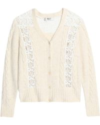 Sea - Lace-paneled Cable-knit Cardigan - Lyst