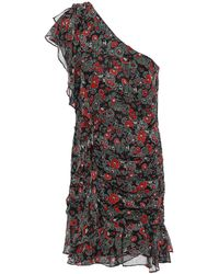 Veronica Beard One-shoulder Floral-print Silk-georgette Mini Dress Midnight Blue