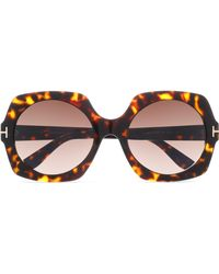 Tom Ford - Square-frame Tortoiseshell Acetate And Gold-tone Sunglasses Dark Brown - Lyst