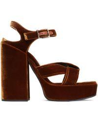 Jil Sander - Twisted Velvet Platform Sandals - Lyst