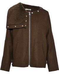 Vanessa Bruno - Shearling-paneled Wool-blend Jacket - Lyst