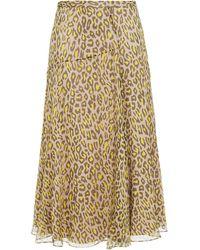 Theory Leopard-print Silk-crepon Midi Skirt - Multicolour