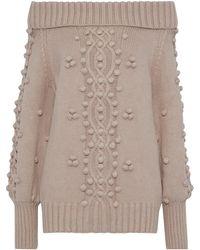 Marissa Webb Camden Off-the-shoulder Pompom-embellished Cable-knit Sweater Blush - Multicolor