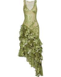 Antonio Berardi Asymmetric Ruffled Printed Fil Coupé Chiffon Gown Leaf Green