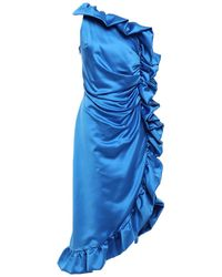 Ainea One-shoulder Asymmetric Duchesse-satin Dress Azure - Blue