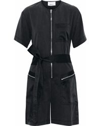 3.1 Phillip Lim - Satin-paneled Cutout And Cotton-blend Twill Playsuit - Lyst