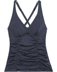 Heidi Klum - Ruched Crepe De Chine Swimsuit - Lyst