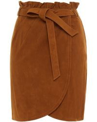 Ba&sh Mini-wickelrock aus veloursleder mit bindedetail vorne - Braun