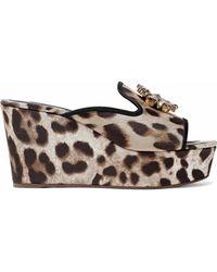 Dolce & Gabbana Crystal-embellished Leopard-print Twill Wedge Mules Animal Print - Brown