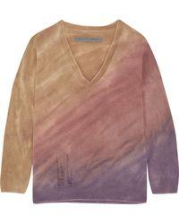 Raquel Allegra - Boyfriends Distressed Tie-dyed Merino Wool And Cashmere-blend Sweater - Lyst