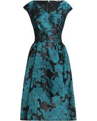 Zac Posen - Pleated Floral-jacquard Dress - Lyst