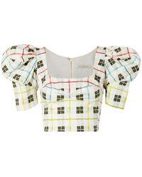 Silvia Tcherassi Brett Cropped Checked Cotton-blend Top - White