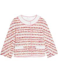 Boutique Moschino - Lace And Grosgrain-trimmed Bouclé-tweed Jacket - Lyst