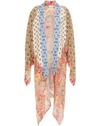 Anjuna Lia Asymmetric Patchwork Printed Silk Crepe De Chine And Chiffon Kimono - Multicolour