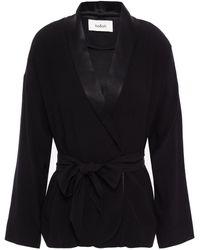 Ba&sh Suga Belted Satin-trimmed Crepe Wrap Jacket - Black