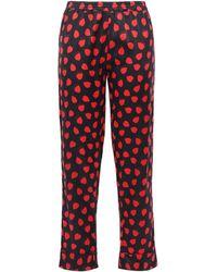 Stella McCartney Tara Tickling Printed Silk-blend Satin Pajama Pants Black