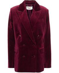 Zimmermann Double-breasted Cotton-velvet Blazer - Purple