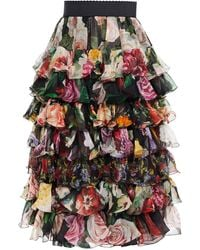 Dolce & Gabbana Panelled Tiered Floral-print Silk-voile And Organza Skirt - Black