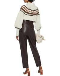 Nicholas Damia Belted Faux Leather Tapered Trousers - Multicolour