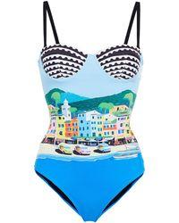 Mary Katrantzou Sicilia Printed Swimsuit - Blue