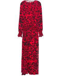 Preen Line Shir Ruffle-trimmed Floral-print Georgette Maxi Dress - Red