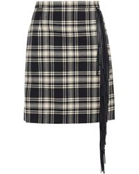 Michael Kors Fringed Leather-trimmed Checked Wool Mini Skirt - Black