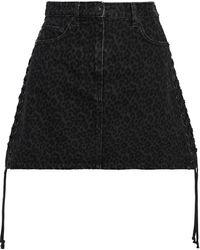McQ Lace-up Leopard-print Denim Mini Skirt Dark Denim - Blue