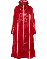 CALVIN KLEIN 205W39NYC - Tie-detailed Coated-shell Raincoat Crimson - Lyst