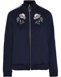 Markus Lupfer Maddy Embroidered Stretch-jersey Track Jacket Navy - Blue