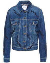 Moschino Embroidered Denim Jacket Mid Denim - Blue