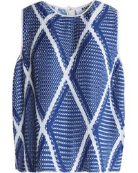 MSGM - Pleated Printed Crepe De Chine Top Royal Blue - Lyst
