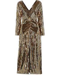 RIXO London Emmy Striped Sequined Chiffon Midi Dress Gold - Metallic