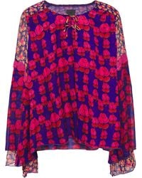 Anna Sui - Crepon-paneled Lace-trimmed Bow-embellished Floral-print Silk-gauze Blouse Indigo - Lyst