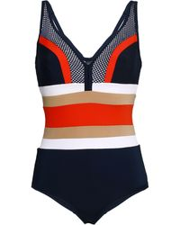 Jets by Jessika Allen Ultraluxe Mesh-paneled Color-block Underwired Swimsuit Navy - Blue