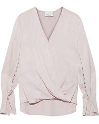 3.1 Phillip Lim Wrap-effect Button-detailed Satin Blouse Pastel Pink