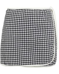 Solid & Striped Gingham Seersucker Mini Wrap Skirt - Black