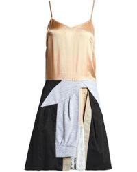 Koche - Panelled Satin, Jersey And Twill Mini Dress - Lyst