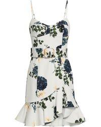 Nicholas Belted Floral-print Stretch-cotton Twill Mini Dress - White